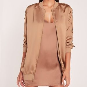 Carli Bybel x Missguided longline bomber jacket